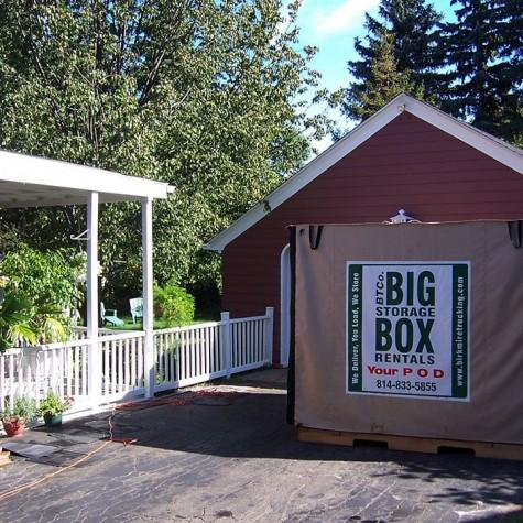 Big Storage Box Rental in Client's Driveway