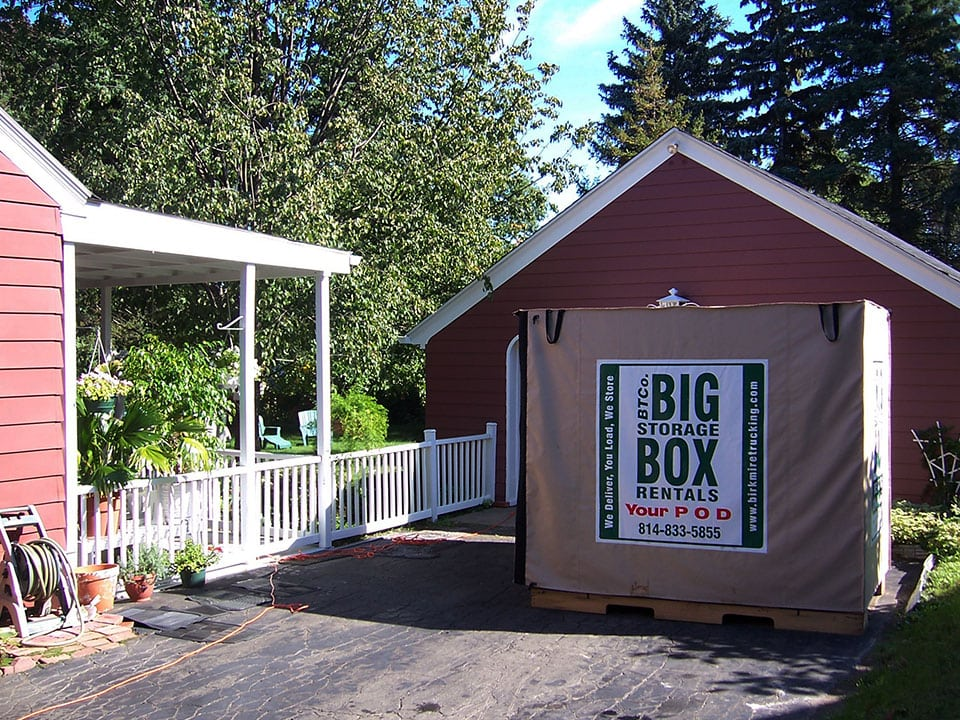 Big Storage Box Rental in Client's Driveway